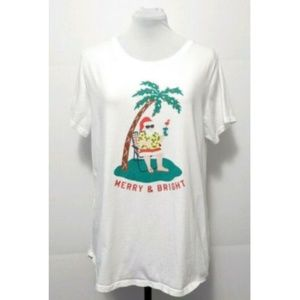 Old Navy Christmas Santa Palm Tree Graphic T Shirt